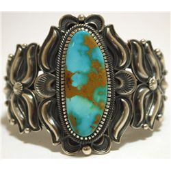 Navajo Royston Turquoise Sterling Silver Cuff Bracelet - Kirk Smith