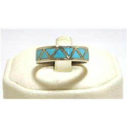 Zuni Turquoise Inlay Sterling Silver Men's Ring - Jim Haloo
