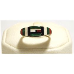 Zuni Multi-Stone Inlay Sterling Silver Women's Ring - Erma Eustice