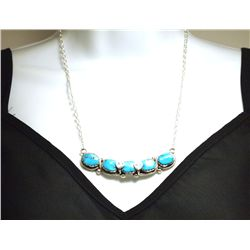 Zuni Turquoise Sterling Silver Snakes Necklace - Effie Calavaza