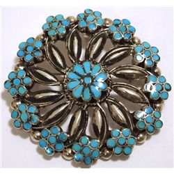 Old Pawn Zuni Turquoise Sterling Silver Flower Pendant & Pin - VM Dishta