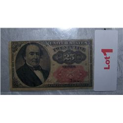 U.S FRACTIONAL CURRENCY .25 CENTS RED LABEL SERIES 1874 AU-UNC CONDITION