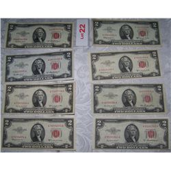 (8X$) $2 U.S NOTES CHOICE XF-AU CONDITION SERIES 1953, RED SEALS