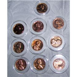"(10X$) U.S LINCOLN ""PROOF CENTS"" 1957 WHEAT THROUGH 1991-S"