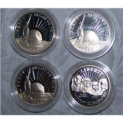 (4X$) U.S PROOF COMMEMORATIVE HALVES 1986-1991
