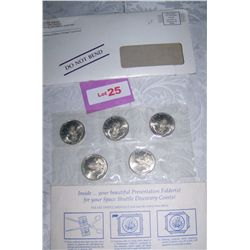 SET OF 5 SPACE SHUTTLE DISCOVERY $5 COMMEMORATIVE COINS W/ C.O.A'S