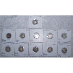 (11X$) U.S BARBER SILVER DIMES 1902-1916 VG+ TO XF CONDITION