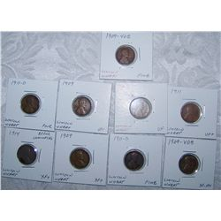 (9X$) EARLY LINCOLN CENTS INCLUDING (1909 VDB'S) FINE TO AU CONDITION