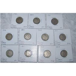 (11X$) U.S LIBERTY NICKELS VG TO AU CONDITION 1883-1911