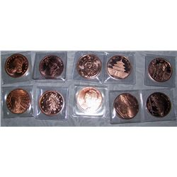 (10X$) .999 PURE COPPER ROUNDS U.S COIN REPLICAS
