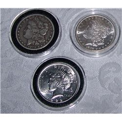 (3X$) U.S MORGAN & PEACE SILVER DOLLARS 1878-CARSON CITY, MINT STATE1879-S, 1922 PEACE DOLLAR