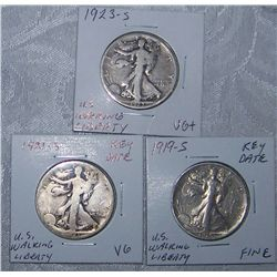 (3X$) U.S WALKING LIBERTY HALVES 1923-S,KEY DATE 1919-S,1921-S