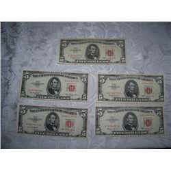 (5X$) U.S $5 NOTES SERIES 1953 -63 RED LABEL CHOICE- A.U CONDITION