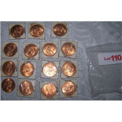 LOT OF 14 BRITISH LARGE CENTS MINT STATE, UNCIRCULATED 1966
