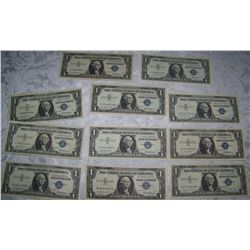 """(11X$) U.S $1 SILVER CERTIFICATES SERIES 1957 INCLUDING """"STAR NOTES"""""""