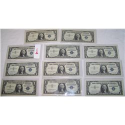 (11X$) $1 U.S SILVER CERTIFICATES INCLUDING  STAR NOTES  AU-UNC CONDITION SERIES 1957