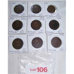 (9X$) PORTUGESE REIS COINS EARLY KEY DATES