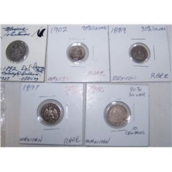 (5X$) EARLY MEXICAN SILVER 1892-1902 RARE DATES