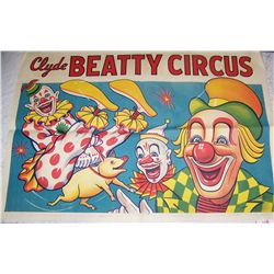 CLASSIC LITHOGRAPH CLYDE BEATTY CIRCUS POSTER 29T X 41W