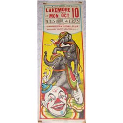 MILLS BROS. THREE RING CIRCUS POSTER, CLASSIC LITHOGRAPH 41TX 14W