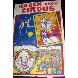 HAGEN BROS. CLASSIC LITHOGRAPH CIRCUS POSTER 42T X 28W