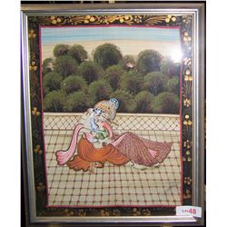 INDIAN WEDDING COUPLE, MIXED MEDIA ON SILK FRAMED 22T X18W