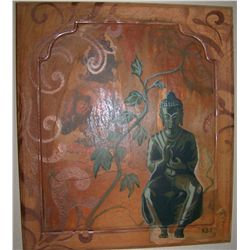MAGNIFICENT BUDDHA  OIL & ACRYLIC ON BOARD SIGNED RGS, LOWER RIGHT 17T X 15W