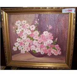 VINTAGE OIL ON CANVAS FLORAL STILL LIFE, SIGNED KONAS 15T X17W