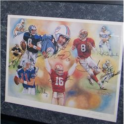 NFL GREATS SIGNED LITHOGRAPH 241/500 INCLU: T.BRADSHAW, J.MONTANA, R.Staubach,D. MARINO,S. YOUNG