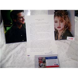 SEAN PENN SIGNED LEGAL DOCUMENT FOR DIVORCE W/ MADONNA PSA/DNA CERTIFICATION