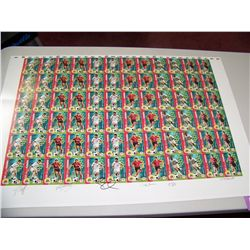 SAFEWAY SOCCER UNCUT SHEET OF 72 PROMOTIONAL CARDS SIGNED BY 6 MEMBERS OF USA NATIONAL TEAM