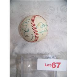 PHILADELPHIA PHILLIES SIGNED N.L BASEBALL W/: PETE ROSE,MIKE SCHMIDT,TUG MCGRAW (PERSONALIZED)