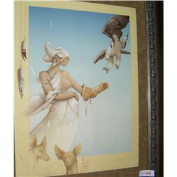 MICHAEL PARKES  KHENSU  1983 ORIGINAL SIGNED STONE LITHOGRAPH #143/150. CUSTOM FRAMED