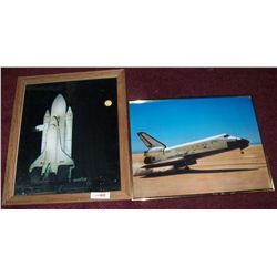 PAIR OF ORIGINAL SPACE SHUTTLE PHOTOGRAPHS, FRAMED