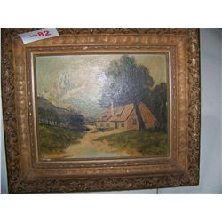 D.V PETRI ANTIQUE OIL ON CANVAS FRAMED PAINTING 8T X9.5W