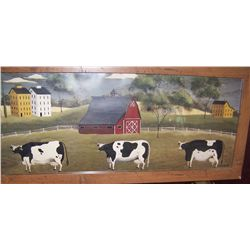 "CHRIS PALMER FRAMED FOLK ART PRINT ""THREE COWS"""