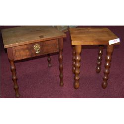 PAIR OF ANTIQUE BARLEY TWIST SIDE TABLES