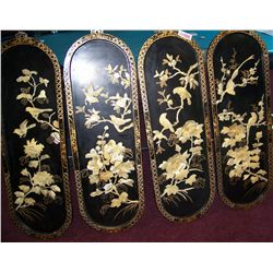 FOUR  CHINESE MOTHER OF PEARL INLAY ART PANELS