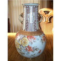 "11"" NIPPON VASE W/YELLOW AND ORANGE ROSES"