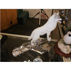 FIGURINE - CERAMIC WOLF ON CRYSTAL ROCK