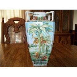 "10"" NIPPON VASE, TROPICAL SCENE, 4 HANDLE"