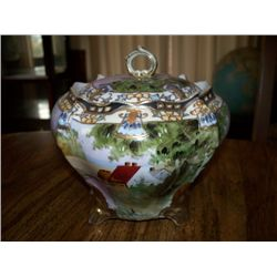 NIPPON BISQUIT JAR W/COTTAGE SCENE
