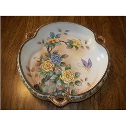 "9"" NIPPON CLOVER LEAF BOWL W/FLORAL DESIGN IN BOWL"