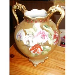 "9"" NIPPON VASE, BEIGE W/FLOWERS, 2 HANDLE"