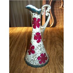 "8"" NIPPON EWER, BEIGE W/RED FLOWERS AND GREEN TRIM"