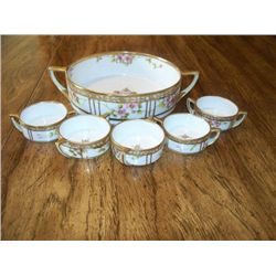 6 PC. NIPPON GOLD AND WHITE NUT DISH SET