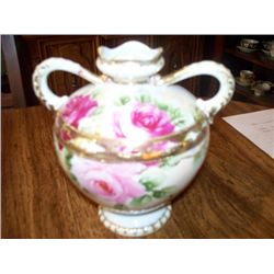 "6.5"" NIPPON VASE, 2 HANDLE, ROSES W/GOLD TRIM"