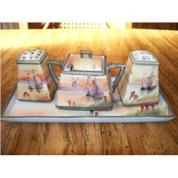 4 PC. NIPPON CONDIMENT SET - DUTCH SCENE