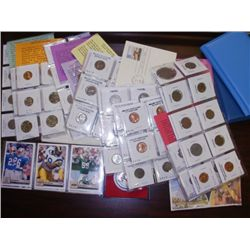 BOX LOT - ASST. COINS, STAMPS, GEM STONES, SPORTS CARDS, ETC.