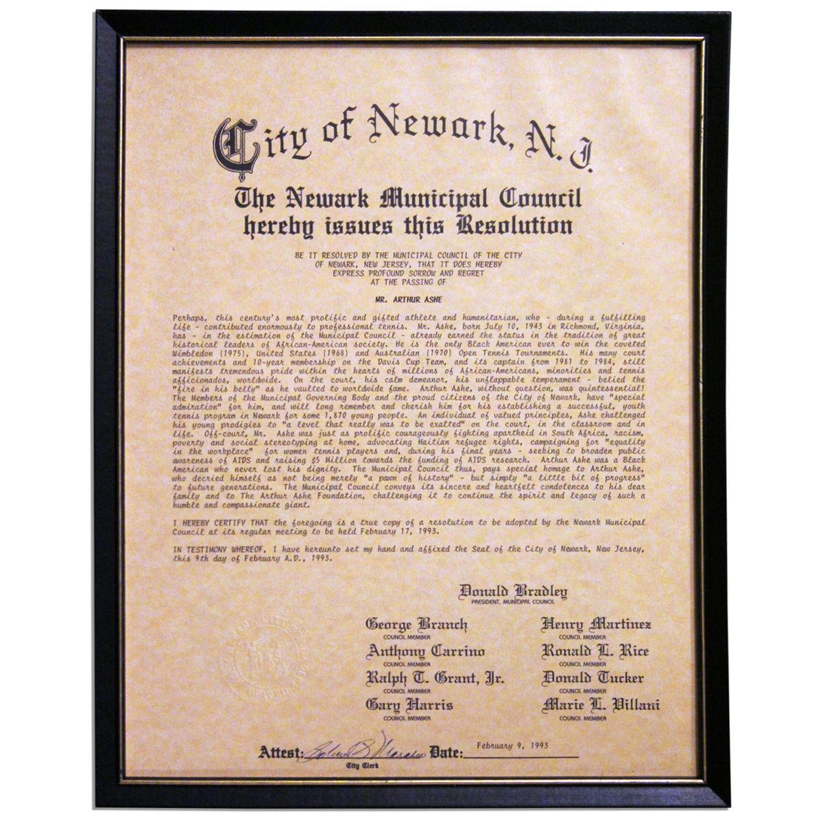 Arthur ashe memorial resolution adopted by the newark city council arthur ashe memorial resolution adopted by the newark city council is centurys most proli aiddatafo Image collections